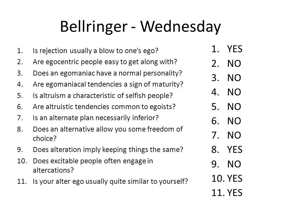 Bellringer - Wednesday