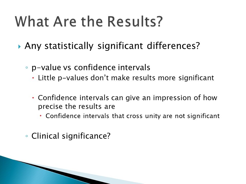 What Are the Results Any statistically significant differences