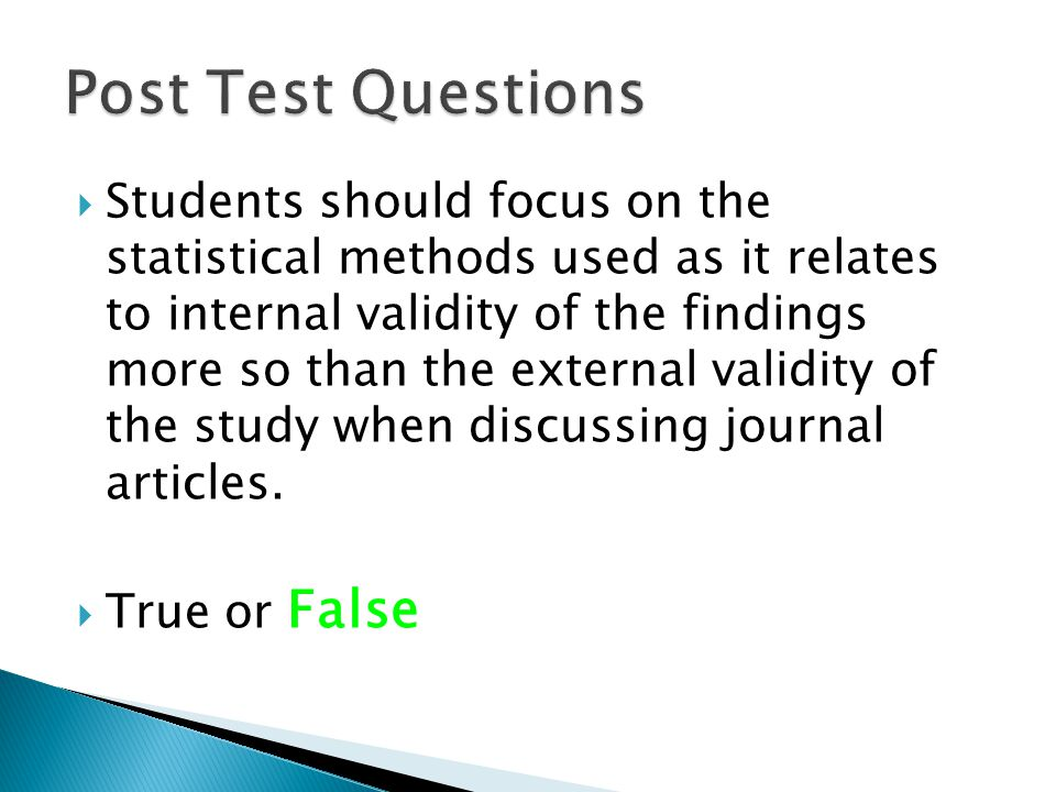 Post Test Questions