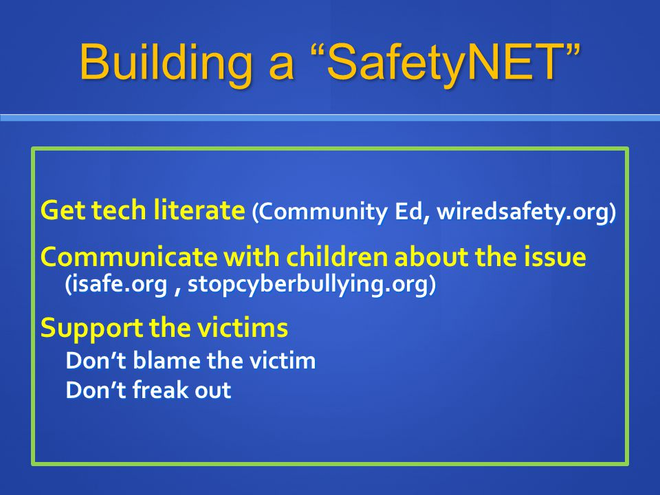 Building a SafetyNET