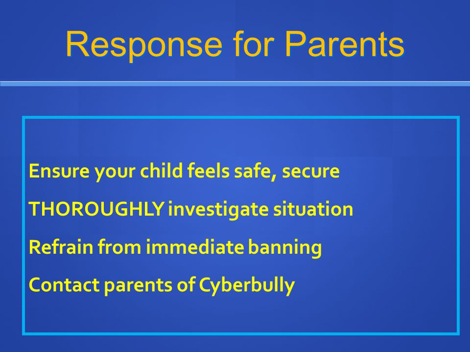 Response for Parents
