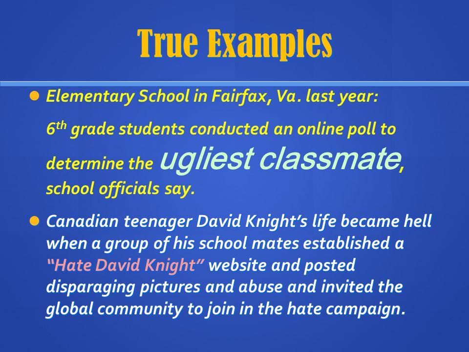 True Examples Elementary School in Fairfax, Va. last year: