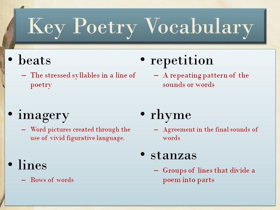 Key Poetry Vocabulary beats repetition imagery rhyme stanzas lines
