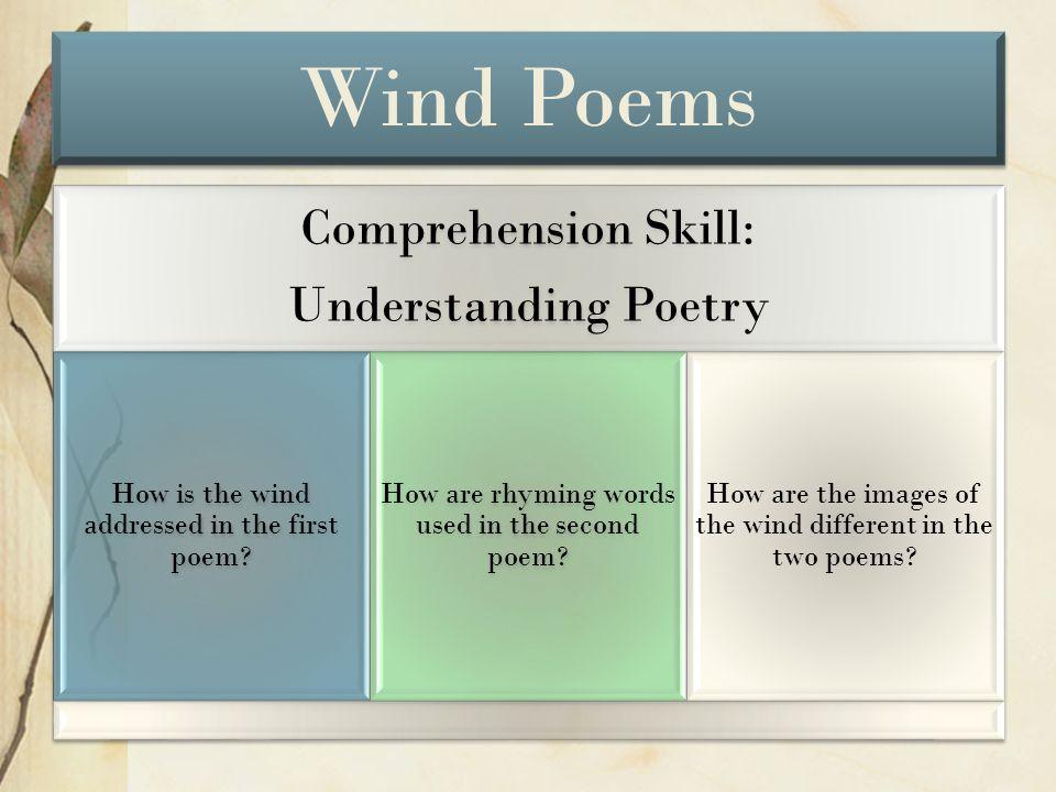 Wind Poems Comprehension Skill: Understanding Poetry