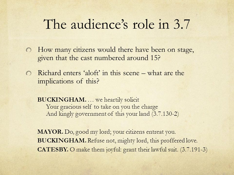 The audience's role in 3.7 How many citizens would there have been on stage, given that the cast numbered around 15
