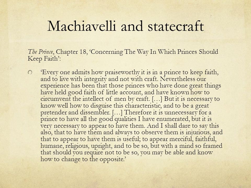 Machiavelli and statecraft