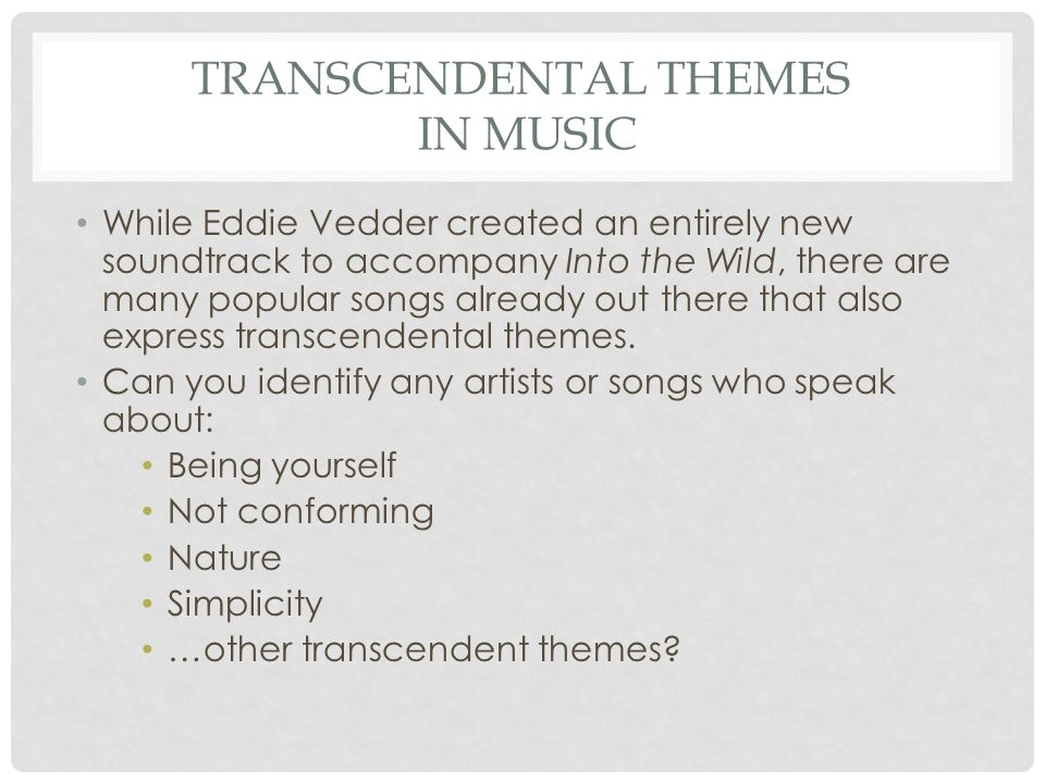Transcendental Themes In music