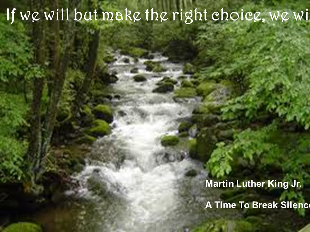 If we will but make the right choice, we will be able to speed up the day, all over America and all over the world, when justice will roll down like waters, and righteousness like a mighty stream.