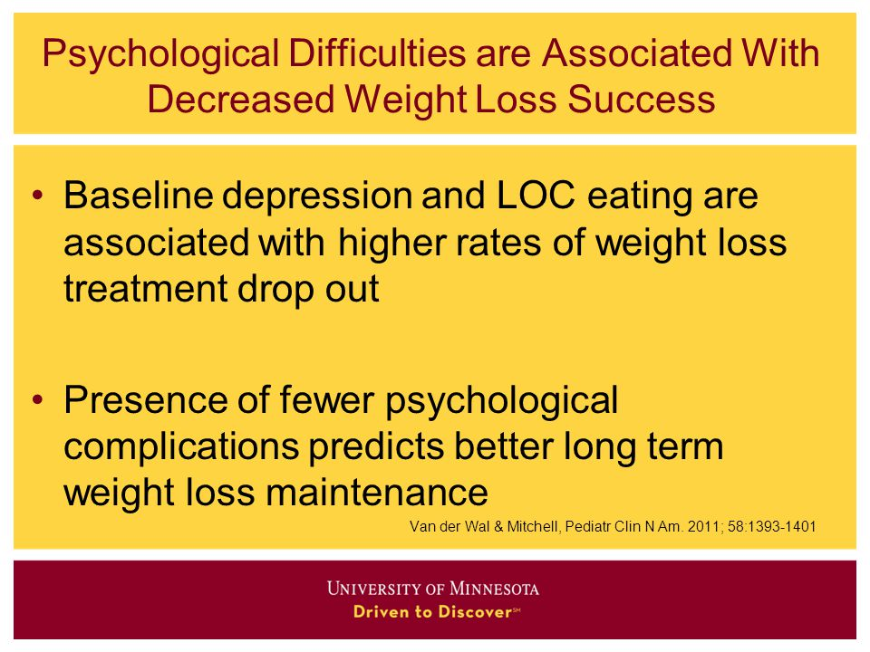 Psychological Difficulties are Associated With Decreased Weight Loss Success