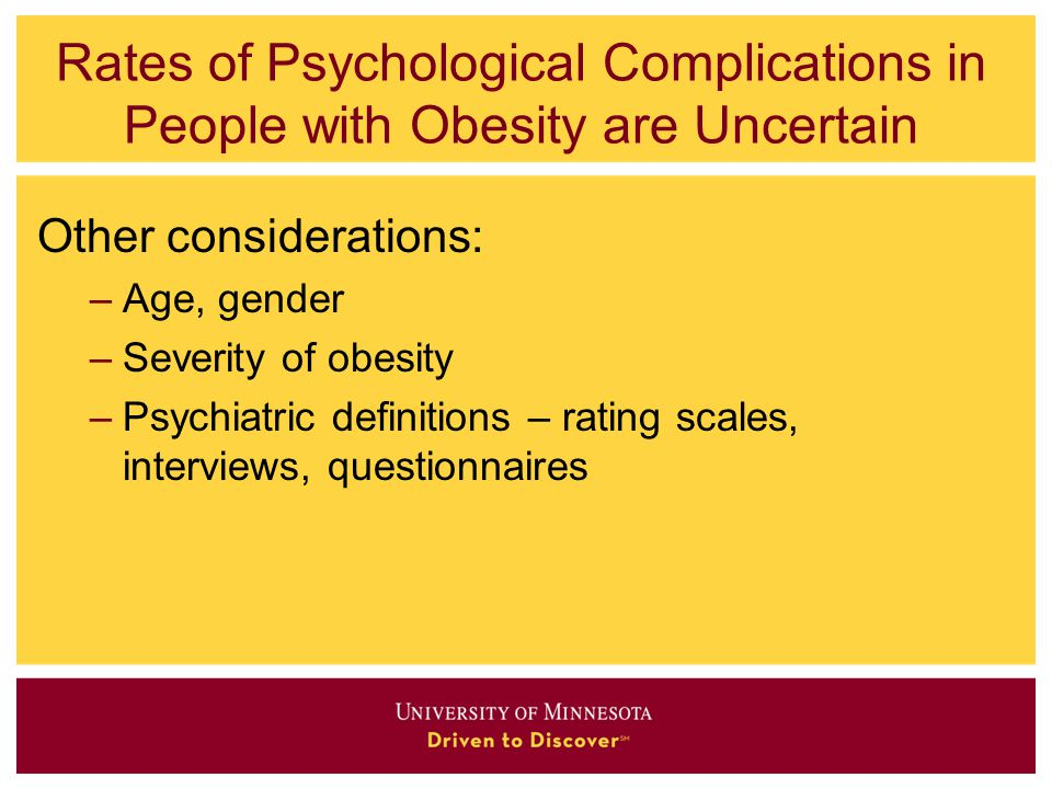 Rates of Psychological Complications in People with Obesity are Uncertain