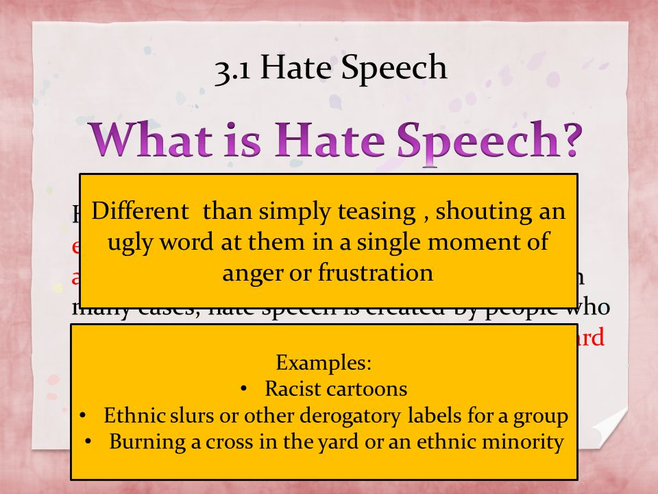 What is Hate Speech 3.1 Hate Speech