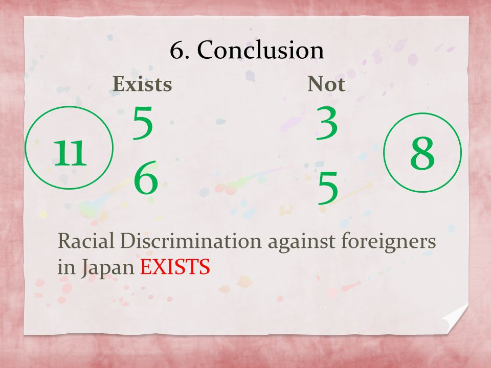 6. Conclusion Exists Not Racial Discrimination against foreigners in Japan EXISTS 5 3 11 8 6 5