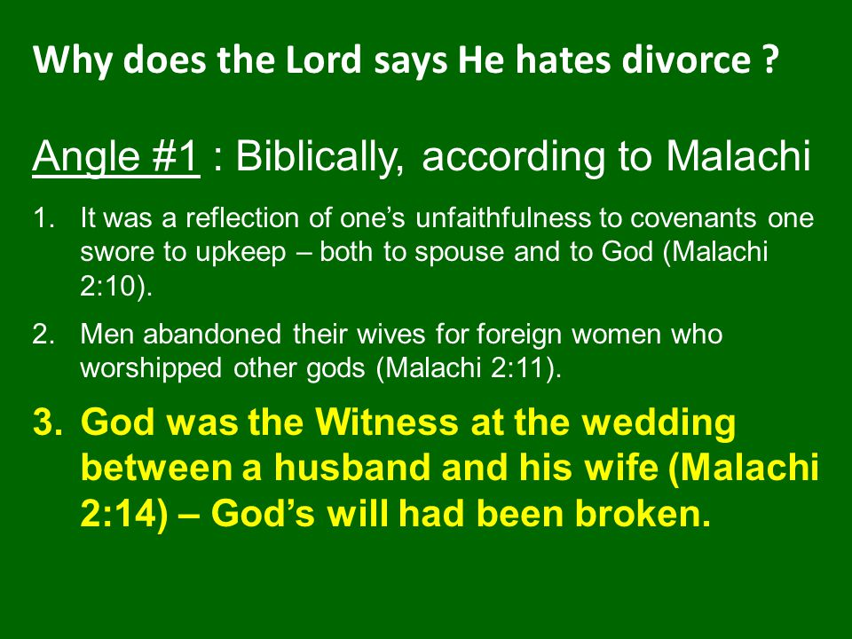 Why does the Lord says He hates divorce