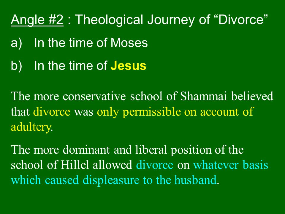 Angle #2 : Theological Journey of Divorce
