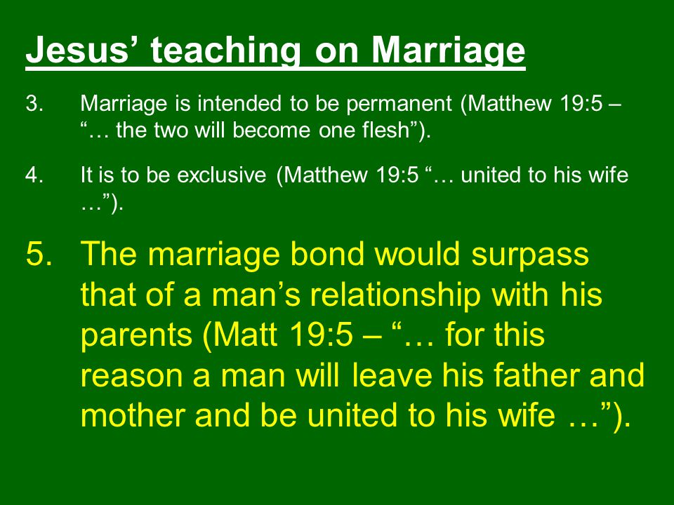 Jesus' teaching on Marriage