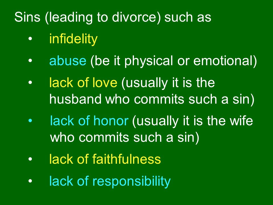 Sins (leading to divorce) such as