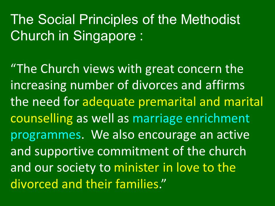 The Social Principles of the Methodist Church in Singapore :
