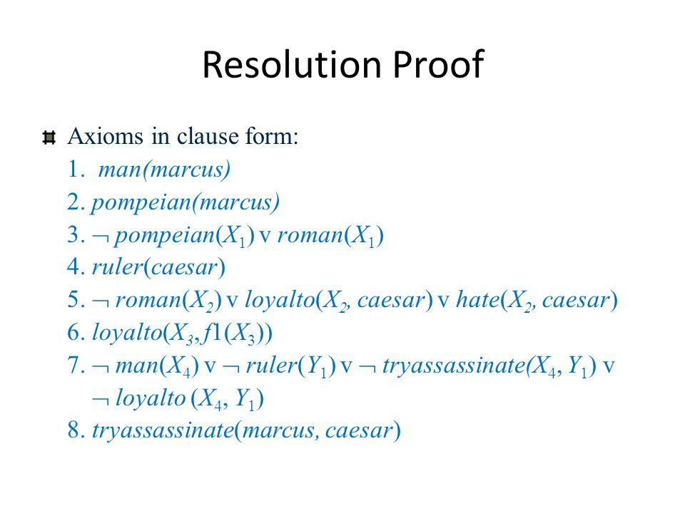 Resolution Proof Axioms in clause form: 1. man(marcus)