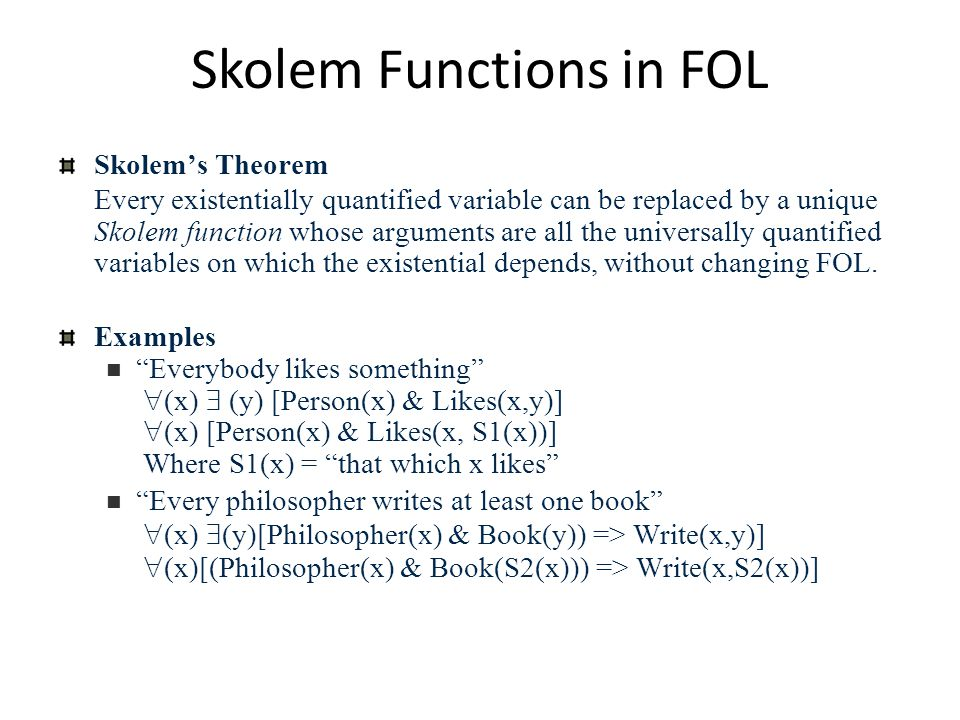 Skolem Functions in FOL