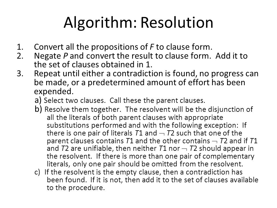 Algorithm: Resolution