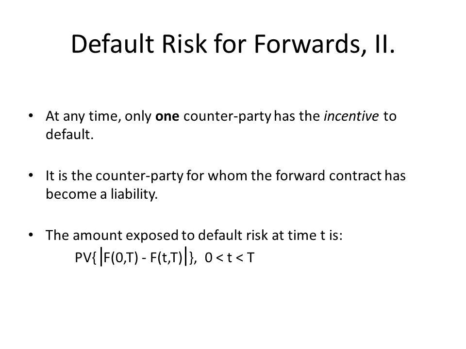 Default Risk for Forwards, II.