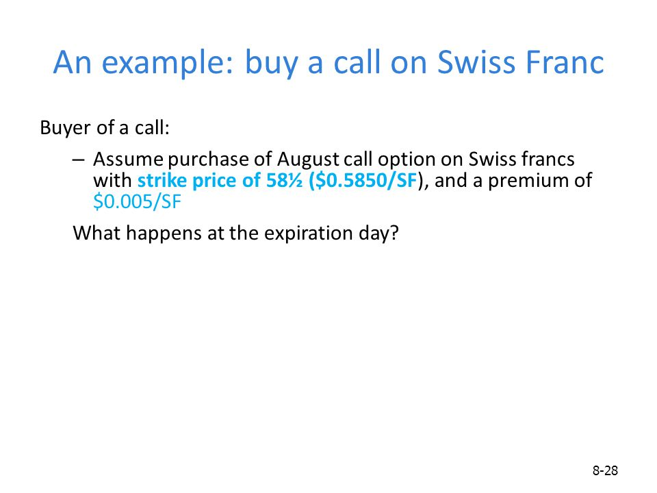 An example: buy a call on Swiss Franc