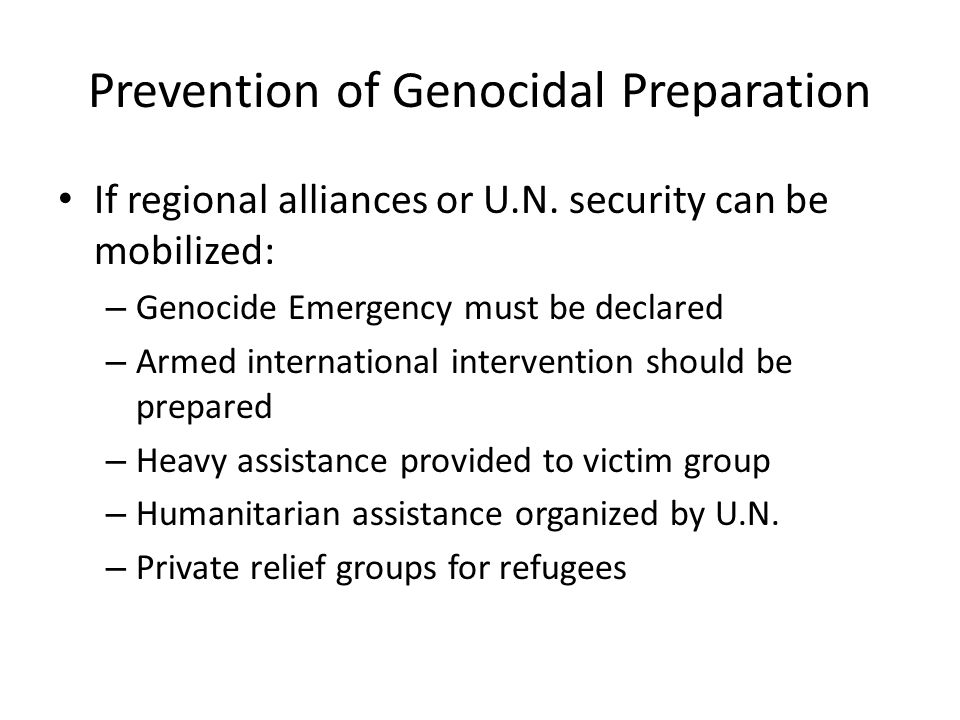 Prevention of Genocidal Preparation