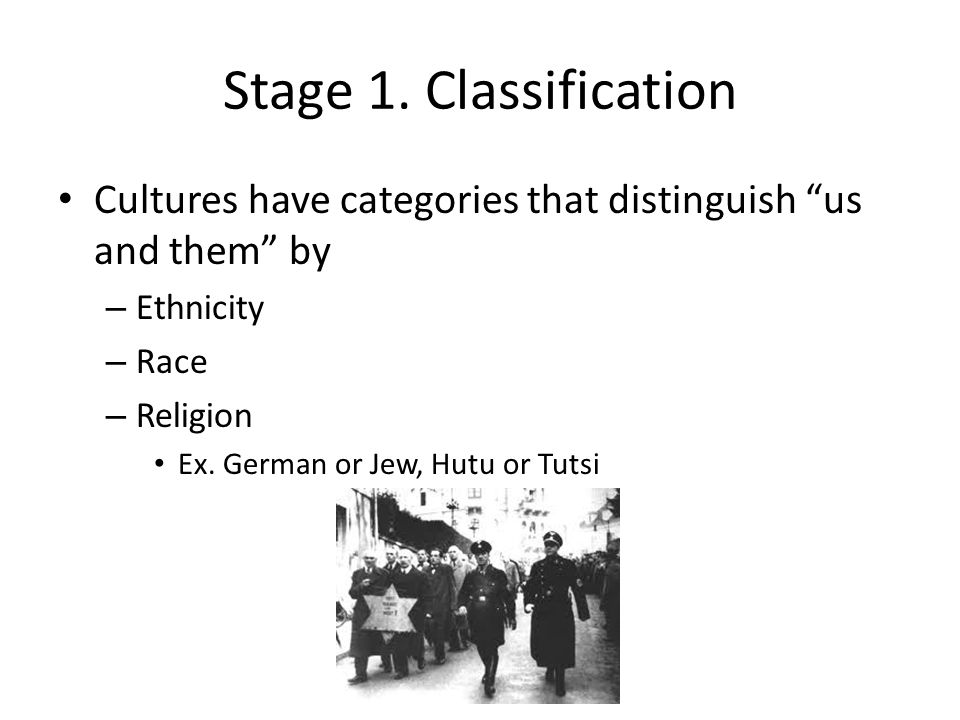 Stage 1. Classification Cultures have categories that distinguish us and them by. Ethnicity. Race.