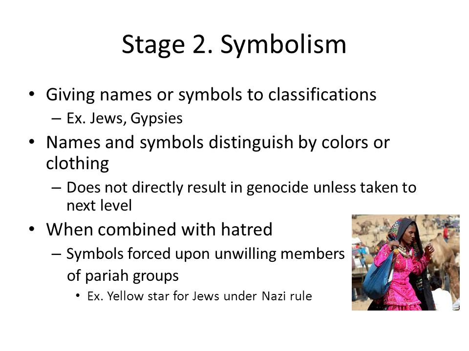 Stage 2. Symbolism Giving names or symbols to classifications