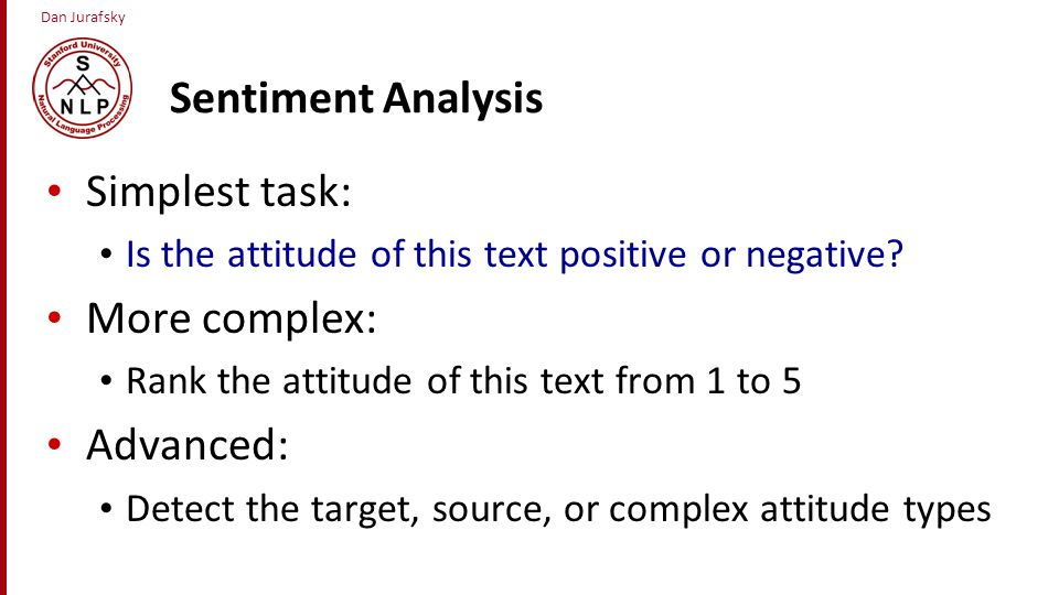 Sentiment Analysis Simplest task: More complex: Advanced: