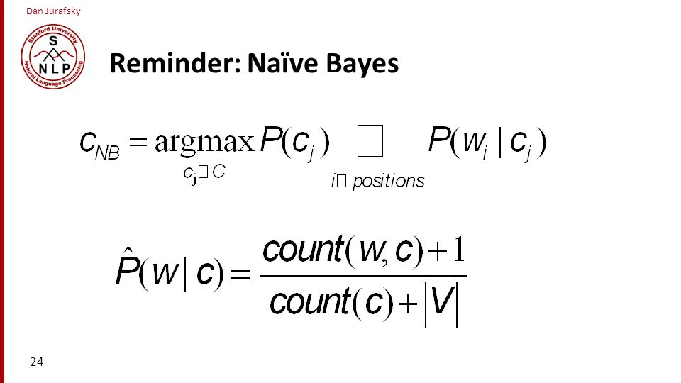 Reminder: Naïve Bayes