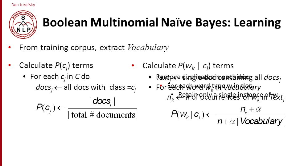 Boolean Multinomial Naïve Bayes: Learning
