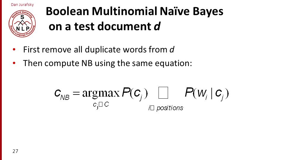 Boolean Multinomial Naïve Bayes on a test document d
