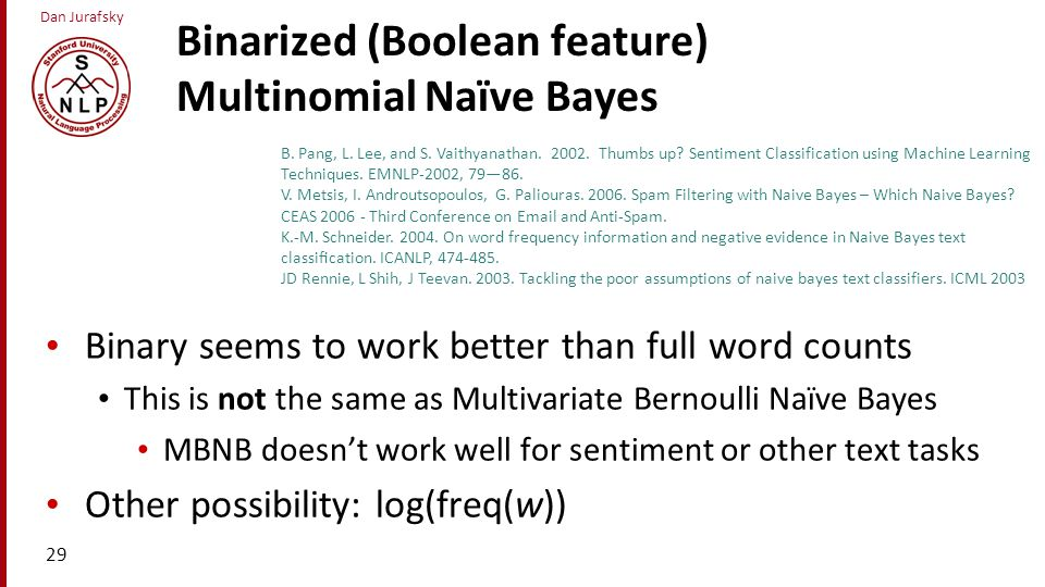 Binarized (Boolean feature) Multinomial Naïve Bayes