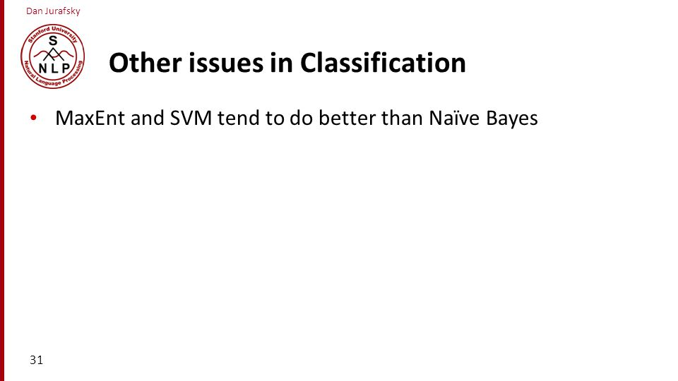 Other issues in Classification