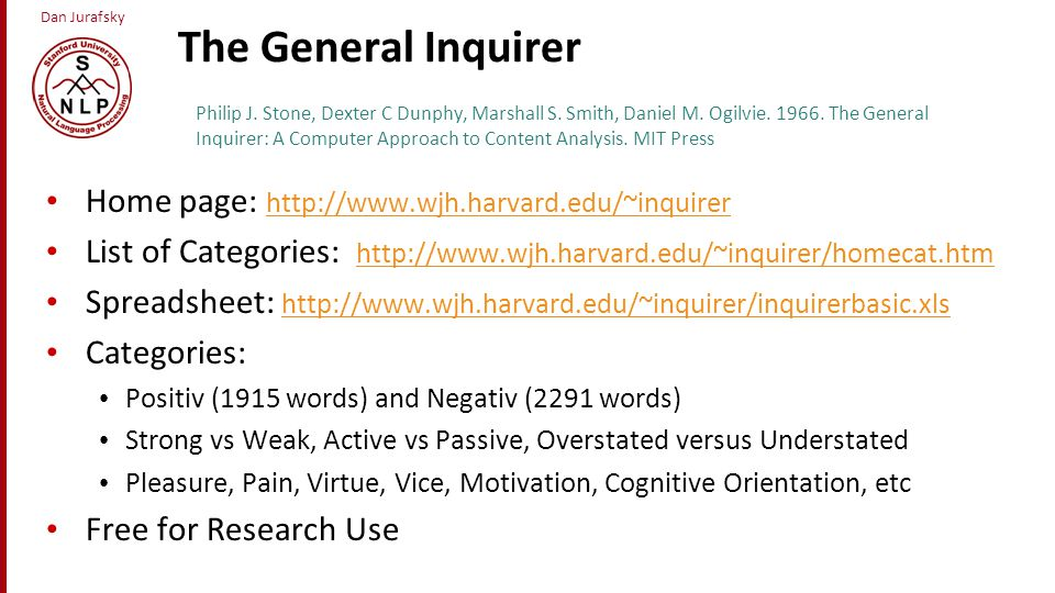 The General Inquirer Home page: http://www.wjh.harvard.edu/~inquirer