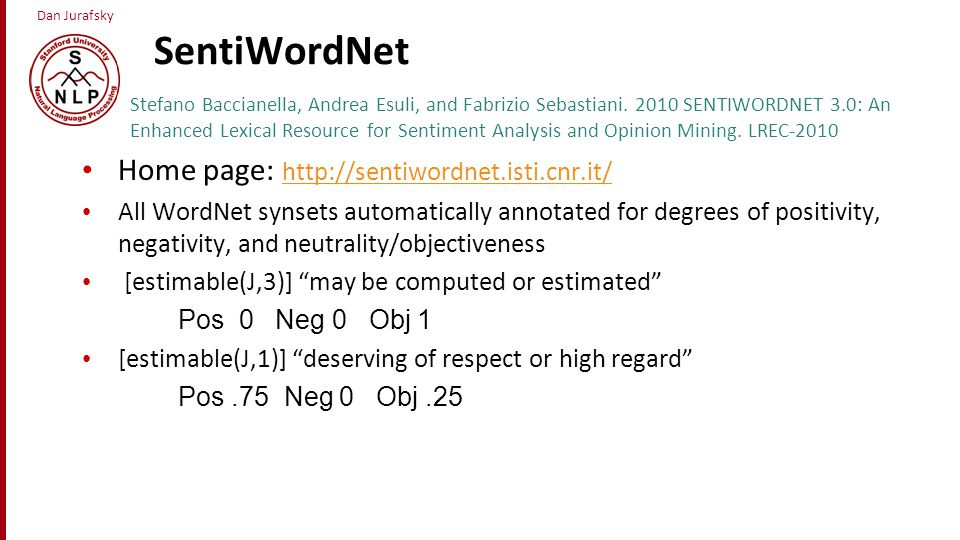 SentiWordNet Home page: http://sentiwordnet.isti.cnr.it/