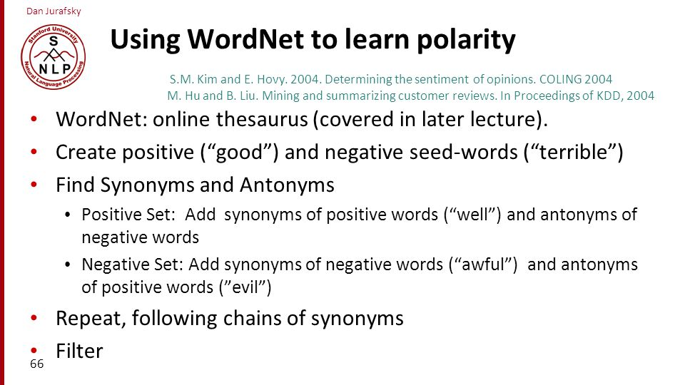 Using WordNet to learn polarity