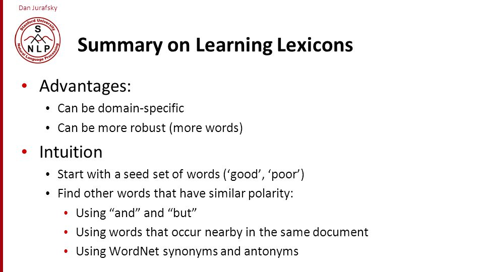 Summary on Learning Lexicons