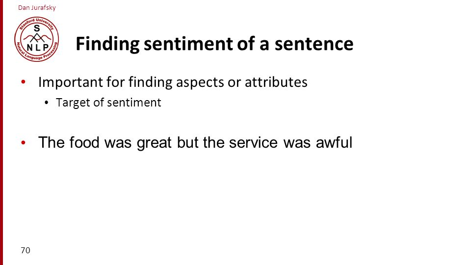 Finding sentiment of a sentence