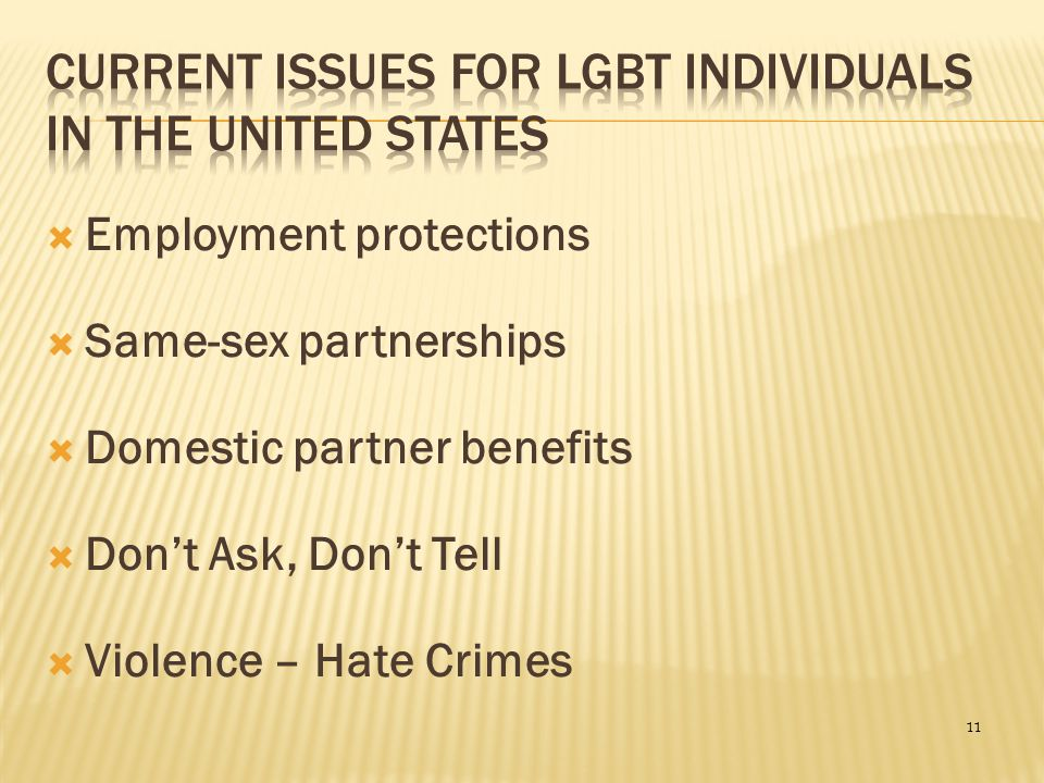 Current Issues for LGBT Individuals in the United States
