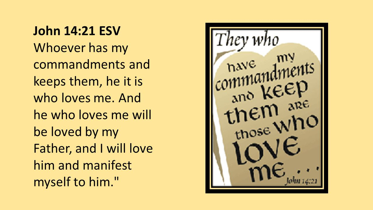 John 14:21 ESV Whoever has my commandments and keeps them, he it is who loves me.