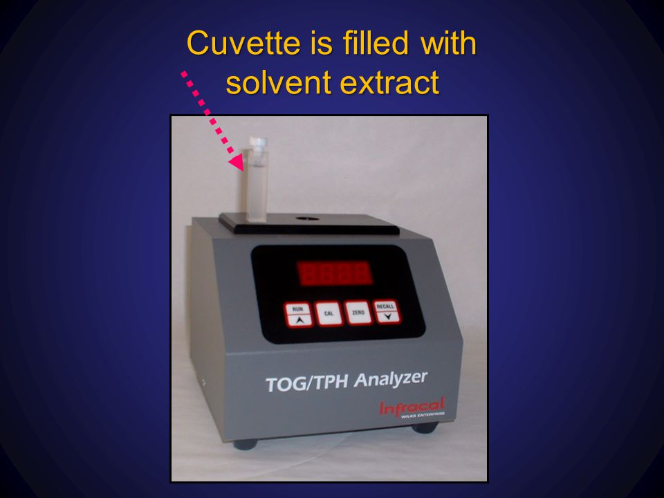 Cuvette is filled with solvent extract