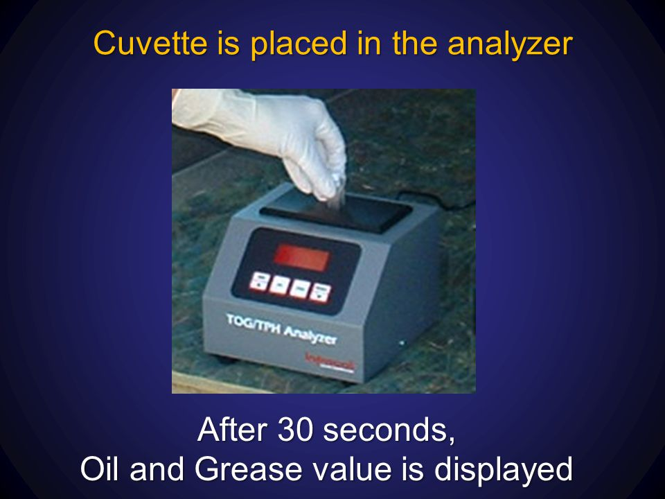 Cuvette is placed in the analyzer