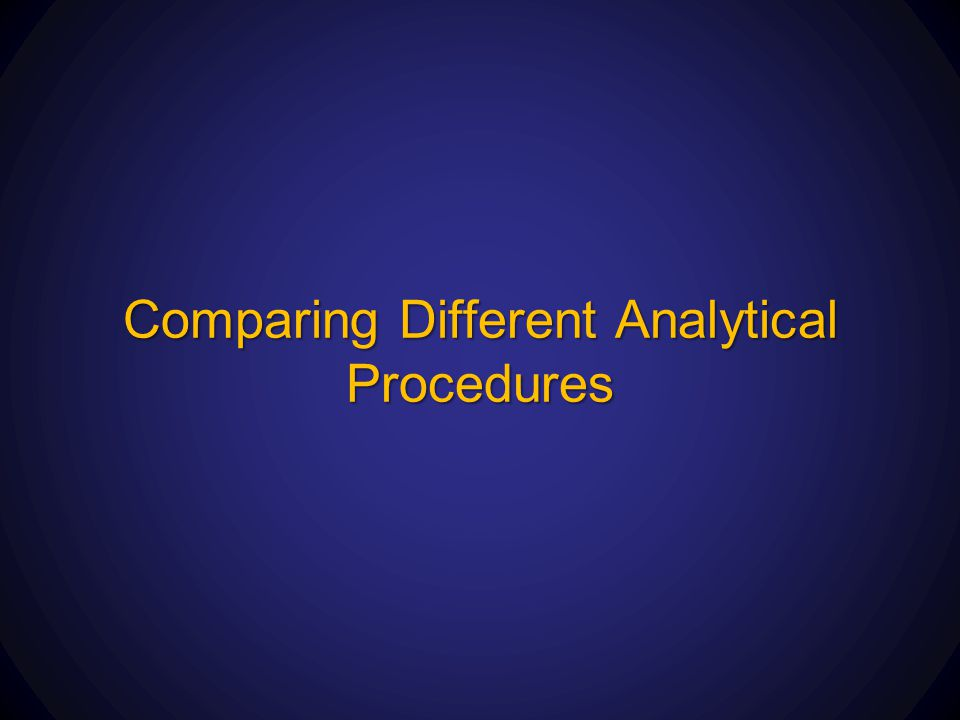 Comparing Different Analytical Procedures