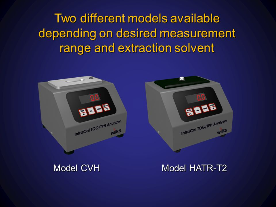 Two different models available depending on desired measurement range and extraction solvent