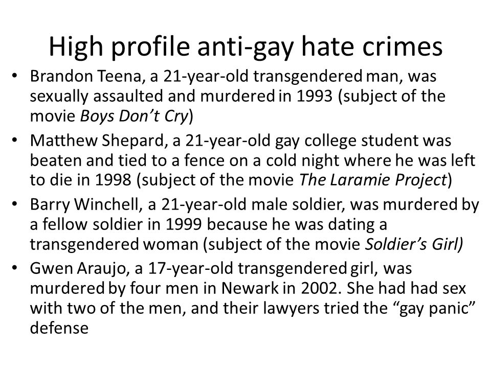 High profile anti-gay hate crimes
