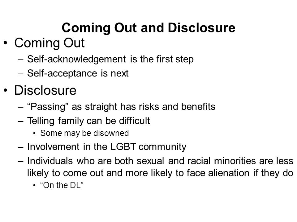 Coming Out and Disclosure