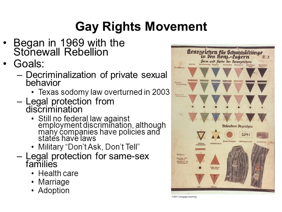 Gay Rights Movement Began in 1969 with the Stonewall Rebellion Goals: