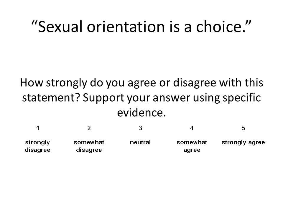 Sexual orientation is a choice.